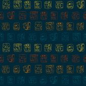 pic of glyphs  - Seamless background with Maya head numerals glyphs for your design - JPG