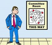 picture of confusing  - Business cartoon depicting a complicated and confusing path to the committee room - JPG