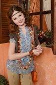 pic of country girl  - Young girl in country style near the window - JPG