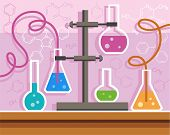 picture of reaction  - Color flat illustration with chemical flasks - JPG
