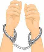 stock photo of handcuff  - Cropped Illustration of a Pair of Hands Tied with Handcuffs - JPG