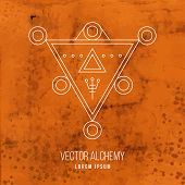 picture of occult  - Vector geometric alchemy symbol with triangle shapes and abstract occult and mystic signs - JPG