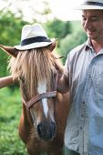 stock photo of panama hat  - Horse and man in panama hat - JPG