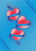 stock photo of lovable  - Blue ribbon wrapped around lovable red hearts - JPG