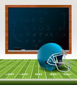 picture of football helmet  - An illustration of an American Football helmet sitting on a football field with a chalkboard drawn with plays - JPG