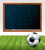 picture of x-files  - A soccer ball football on a green soccer field with a play drawn on a black chalkboard - JPG