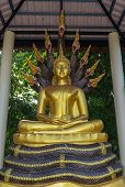 stock photo of worship  - Buddha statue sitting on the king of naga in the place of worship - JPG