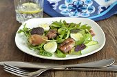 pic of quail  - Chicken and vegetable salad with quail eggs - JPG