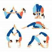 Постер, плакат: Set of yoga asanas for couple yoga on a white backdrop