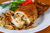 stock photo of squid  - Stuffed squid with seafood  - JPG