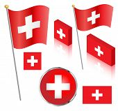 picture of flag pole  - Swiss flag on a pole - JPG