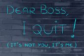 stock photo of quit  - handwritten message to the boss - JPG