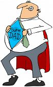 stock photo of outfits  - This illustration depicts a father ripping open his shirt to reveal his super dad outfit - JPG
