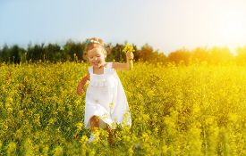 picture of wildflowers  - happy little child girl in a white dress running on field with a bouquet of yellow flowers wildflowers - JPG