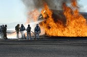 Firefighters train for battling an aircraft fire