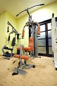 equipment for weight lifting in fitness club