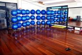fitness club indoor with blue pilates balls in background