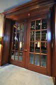 stock photo of hasp  - big massive luxury wood door in hotel restaurant caffee - JPG
