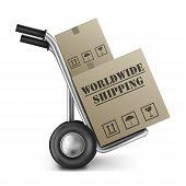 Worldwide Shipping Cardboard Box Hand Truck
