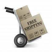picture of hands-free  - free shipping brown cardboard box delivery of online internet shopping orders in a brown package on a hand truck - JPG