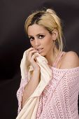 Model In Pink Sweater And Sensuous Look