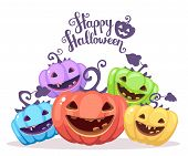 Vector Halloween Illustration Of Heap Decorative Pumpkins Of Different Colors With Eyes, Smiles, Tee poster