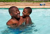 African Father Son Swim
