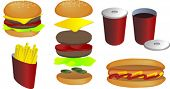 Fast food vector isometric illustration: hamburger, fries, hot dog, soda