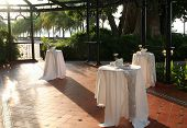 Tables laid out for a wedding reception