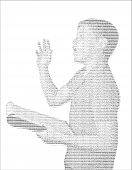 School Boy Delivering Speech In Acsii Letter Art