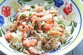 Aisan shrimp salad, with chopped onions and chillis