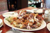 Fried pork knuckles crispy pata traditional Philippino dish