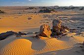 Acacus landscape at sunset in Libya