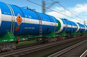 Tren de carga con vehículos cisterna de petróleo