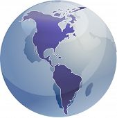 Map of the Americas, on a sperhical globe, cartographical illustration