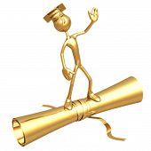 Golden Grad Waving Graduation Concept On Diploma