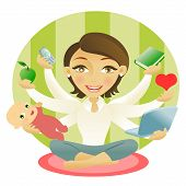 image of young adult  - Woman with six arms holding an apple baby book cellphone computer and heart - JPG