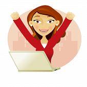 Mulher de negócios em um Laptop cheio de sucesso com os braços acima