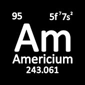 Periodic Table Element Americium Icon On White Background. Vector Illustration. poster