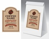 Paper Packaging With Label For Coffee Beans. Vector Label For Coffee In Figured Frame With Coffee Be poster