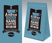 Paper Packaging With Label For Coffee Beans. Vector Label For Coffee With Cup, Bar Code, Coffee Bean poster