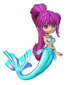 Cute Toon Bright Blue Mermaid