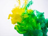 Process Of Acrylic Ink Mixing Under Water Close Up. Yellow And Green Paint Dissolving Into Water, Ab poster