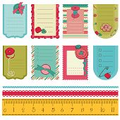 Design Elements For Baby Scrapbook - Cute Tags With Buttons