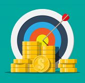 Target With Arrow And Pile Of Gold Coins. Goal Setting. Smart Goal. Business Target Concept. Achieve poster