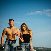 Muscle Building And Bodybuilding. Muscle Building Exercises With Dumbbells For Man And Woman. Muscle poster