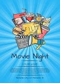 Vector Cinema Doodle Icons Poster For Movie Night Or Festival On Sunrays Bacgkround Illustration poster