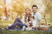 Happy Young Mother And Father With Daughter On Family Picnic On Green Grass In Park On Sunny Summer  poster