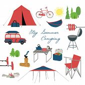 Summer Camping Icons. Family Camp Equipment For Vacation Leisure Activity, Fun And Rest. Colorful Ca poster