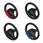 Set Of Black And Red Steering Wheels Isolated On The White